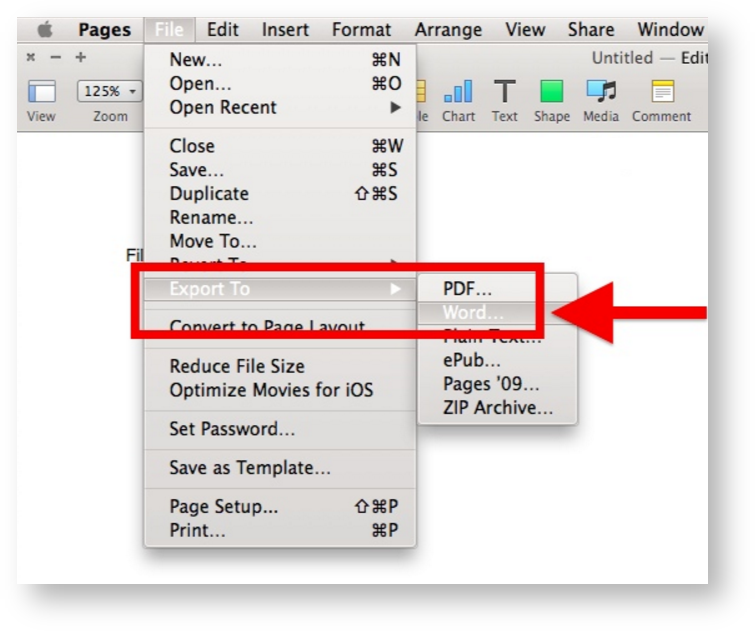 Export A Pages File As Word Document