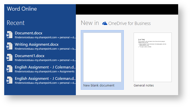 creating a new document in office 365 flinders knowledge base